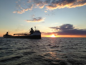 Freighter entering Muskegon Channel